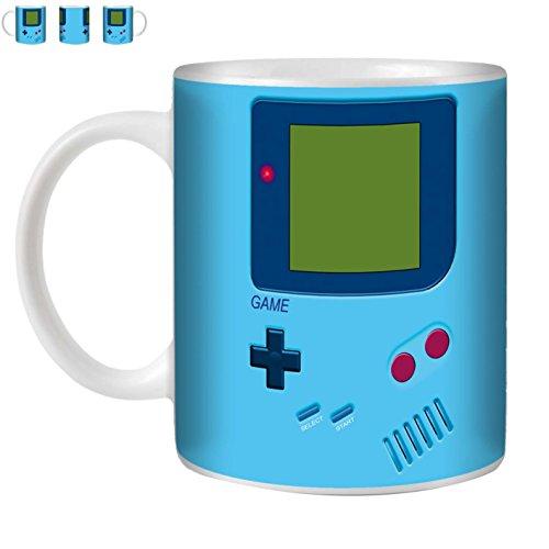 STUFF4 Taza de Café/Té 350ml/Azul Claro/Nintendo GameBoy Inspirado/Cerámica Blanca/ST10