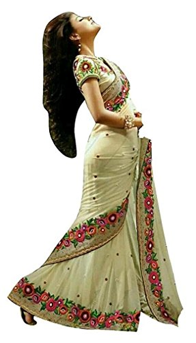 I-Brand Cream Color Georgette Fabric Embroidered Saree ( New Arrival Latest Best Design...