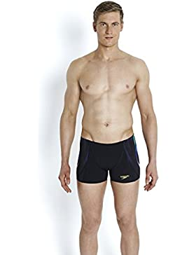 Speedo X Placement Digital V - Bañador para hombre, hombre, color Black/Fluo Green/Deep Peri, tamaño 38