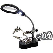 Am-Tech - Lupa con luz LED, pinzas y soporte para soldadura