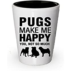 Perros–Vaso de chupito perros make me happy diseño de CARLINO amante regalo