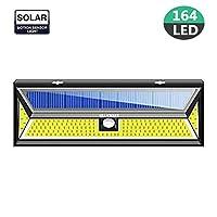 Gluckluz Outdoor Solar Motion Sensor Light 164 COB LED Security Lighting for Garden Porch Wall Coutryard Garage Pool Patio (Cool White)