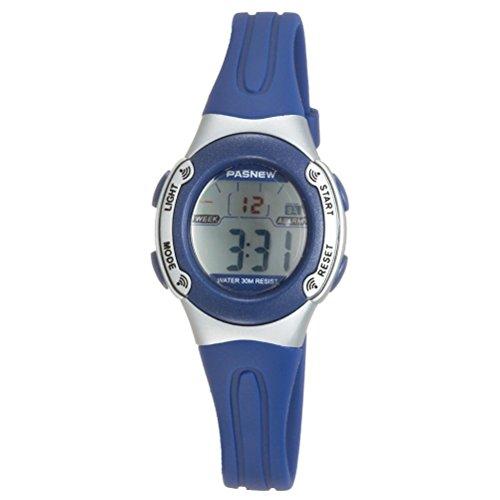 VORCOOL PASNEW PSE-226 wasserdichte Kinder jungen Mädchen LED Digital Sport Uhr mit Datum Alarm Stoppuhr (Blau)