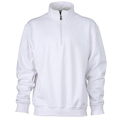 James & Nicholson - Workwear Half-Zip Sweatshirt White