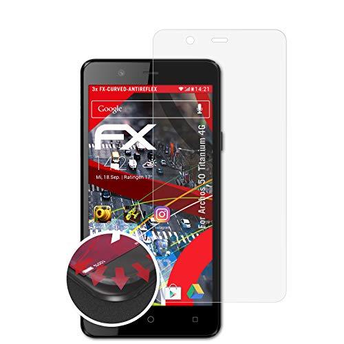 atFolix Schutzfolie passend für Archos 50 Titanium 4G Folie, entspiegelnde & Flexible FX Bildschirmschutzfolie (3X)