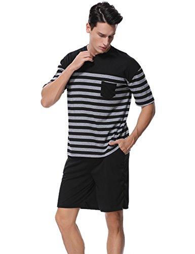 Grau Gestreift Kurz (Aiboria Herren Schlafanzug Pyjama Baumwolle Gestreift Kurz Freizeithosen Jerseyhose Schlafanzughose Set Pant Zweiteiliger)