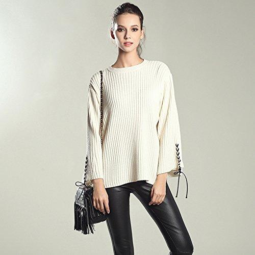 HY-Sweater Gestrickte Primer Shirt Herbst und Winter neue Frauen Horn Ärmel Pullover Rundhals Europa und den Vereinigten Staaten lose Typ, weiß, alle Code