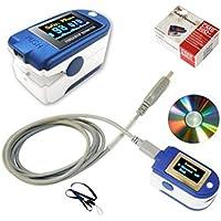 Blyl CMS 50d + USB OLED doigt Oxymètre de pouls & moniteur de fréquence cardiaque W/24 heures de mémoire, cordon, câble USB, Housse de transport et logiciel d'analyse complète