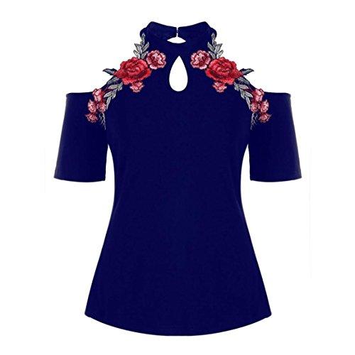 Bellelove Femmes Col Roulé Tops 2018 Mode D'été Plus La Taille Broderie Floral Vintage Épaule Froide T-Shirt À Manches Courtes Vêtements Vêtements Décontractés (UE 46/Asie 4XL, Bleu)
