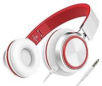 Sound Intone MS200, faltbarer On-Ear Hi-Fi Kopfhörer, 3.5mm Klinkenstecker(Weiß/Rot)