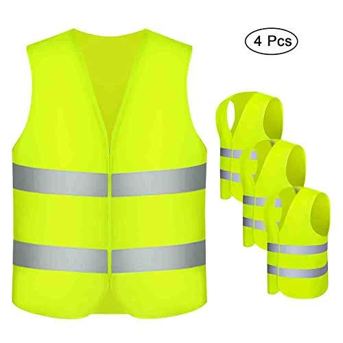 Warnwesten , otutun 4 Stück Sicherheitsweste Auto Pannenweste Neon Gelb EN 471 mit 360 Grad Reflektierende Streifen und Klettverschluss Waschbar Unfallweste für Erwachsene - Standardgröße
