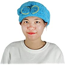 DealMux Baño de la mujer de Bath Spa elástico decoración bowknot Ducha Sombrero seco del casquillo del pelo azul