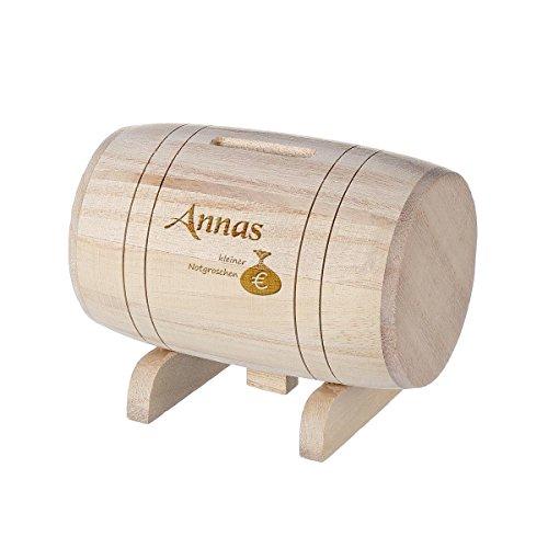 polar-effekt Spardose aus Holz - Sparbüchse Form Fass mit Gravur - Geschenk für jeden Anlass - Motiv kleiner Notgroschen