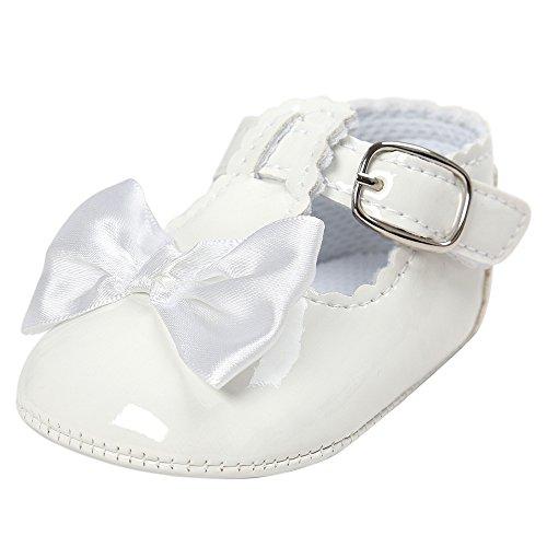 Mode Freizeit PU-Leder Bowknot Babyschuhe-Antirutsch Toddler Krippeschuhe Kinderschuhe, Neugeborene Baby Mädchen Princess Kleinkind Schuhe Krabbelschuhe Wanderschuhe für 6-18 Monate (6-12M, Weiß)