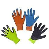 2 paia di guanti da giardino per bambini dai 2 ai 3 anni, dai 4 ai 5 anni, dai 6 ai 13 anni, con rivestimento in gomma di schiuma, guanti da giardinaggio e lavoro per ragazze e ragazzi