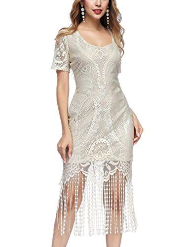 SELUXU Damen Retro 1920er Jahren Perlen Pailletten Floral Franse Gatsby Flapper Kleid