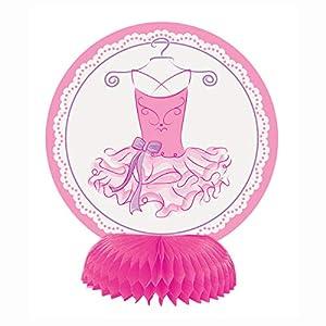 Unique Party- Mini Decoración: Fiesta de Bailarina, 4 Unidades, Color rosa (49489)
