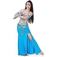 Calcifer - Disfraz de Danza del Vientre para Adultos, Mujeres, niñas, cinturón, Falda, 2 Mangas (Cadena de Cabeza, Zapatos no incluidos), Azul Lago