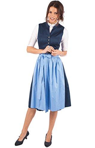 Marjo Midi Dirndl Helene 2tlg. 60cm blau hellblau, 36