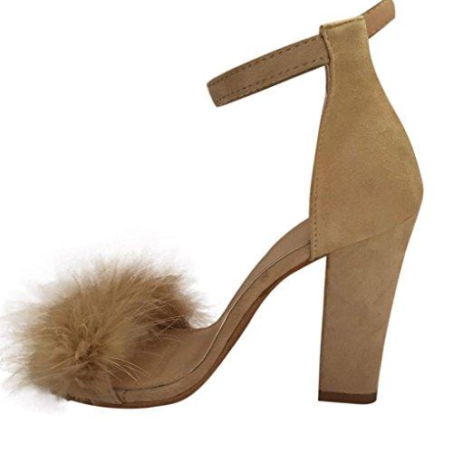 Hunpta Damen Block High Heel Sandalen Knöchel Krawatte Pelz Strappy Plattformen Schuhe (37, Beige) (Knöchel-espadrille)