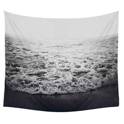 XXGI Grau Wellen Meer Urlaub Themed Print Stoff Tapisserie Wandbehänge Vorhänge Für Indoor Outdoor Art Dekore (150 * 130 cm / 59,06 * 51,18 Zoll)