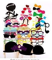 JZK® 58 x Papier photo booth props moustache mask arc lips hat photomaton déguisements pour mariage fête d'anniversaire noël halloween nouvel an et d'autres occasions différentes  Note:  Les bâtons sont séparés. DIY est nécessaire pour coller les mas...