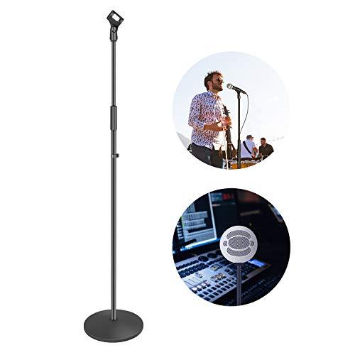 Neewer kompakte Mikrofonstativ Bodenständer mit Mikrofonhalter verstellbare Höhe, robuste Eisen Stativ mit einer soliden runden Basis abnehmbar für einfachen Transport (schwarz)