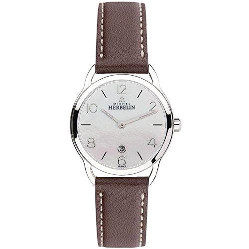 Michel Herbelin Reloj de mujer cuarzo 30mm correa de cuero caja de 16977/19MA
