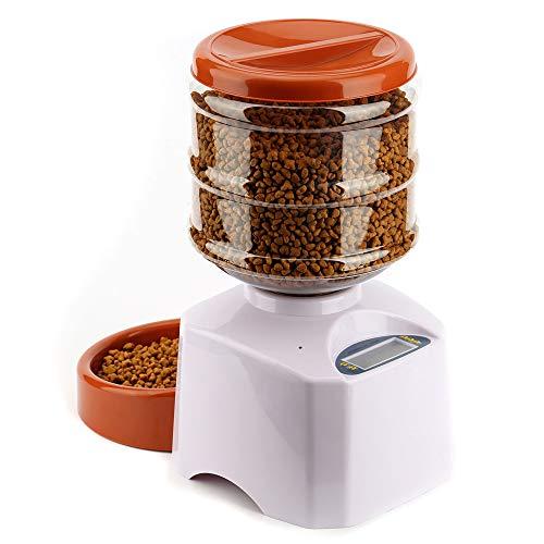 Alimentatore automatico per cani per cani 5,5 litri Dispenser per animali domestici con display LCD digitale Timer e registrazione vocale per animali da alimentazione ( Colore : Bianca )