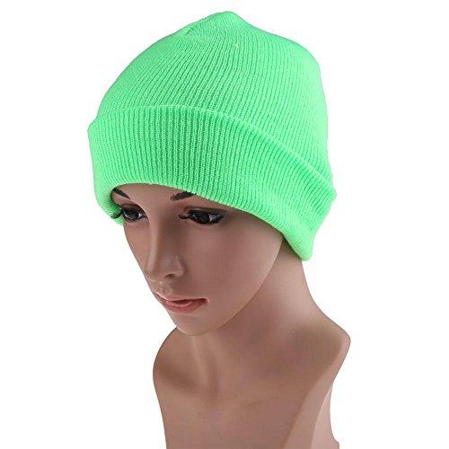 Green Knit Beanie Cap (Domybest Beanie Knit Ski Cap Herren Damen Hip-Ho Unisex Wollmütze Fluorescent Green)