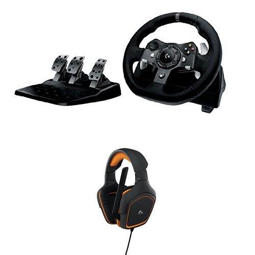 Logitech G920 Driving Force per Xbox One/PC +  G231 Cuffie da Gioco Prodigy Stereo con Microfono per PC, Xbox One e PS4, Nero/Arancione