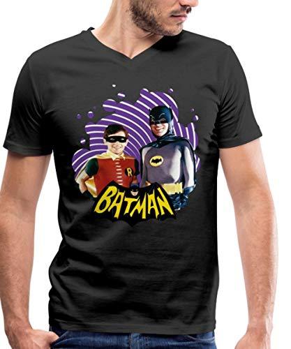 Retro Batman Kostüm - Spreadshirt DC Comics Batman Robin Retro Dynamisches Duo Männer Bio-T-Shirt mit V-Ausschnitt von Stanley & Stella, M, Schwarz