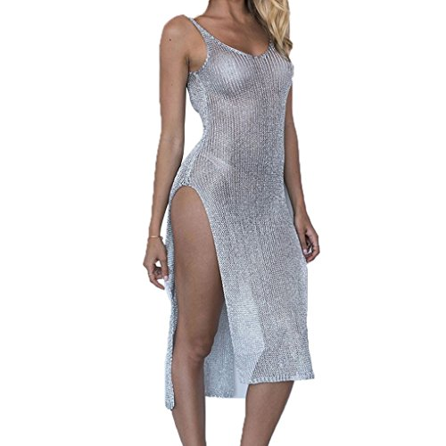 (Arichtop Sexy Weste Vertuschung Schulter Spaghetti-Träger Robe Lange Kleid Bluse Sunblock Badeanzug Smock Beach Girl Frau)