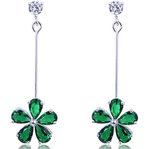 SaySure–Relleno de gota de Dangle Pendientes 10kt oro blanco AAA Zircon Piedra Verde verde