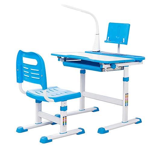 Kinderschreibtisch- und -stuhlset Schreibtischstuhl-Set Multifunktionsschreibtisch und Stuhl-Set Schüler-Schreibtisch mit Lampe und Buchständer Blau Höhenverstellbar mit LED-Lampe Kinder-Lerntisch -