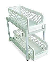Amazing 2 Tier Portable Sliding Basket Drawers Storage Cabinet Box