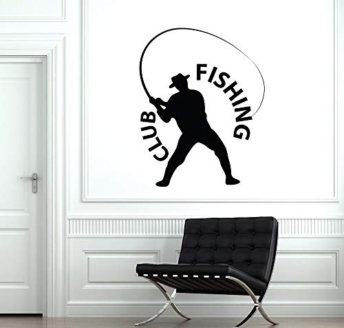 Fishing Fisherman Wall Sticker Fishing Club Logo Wall Window Decal Home Decor Fish Relax Activity Vinyl Wall Posters  80x101cm