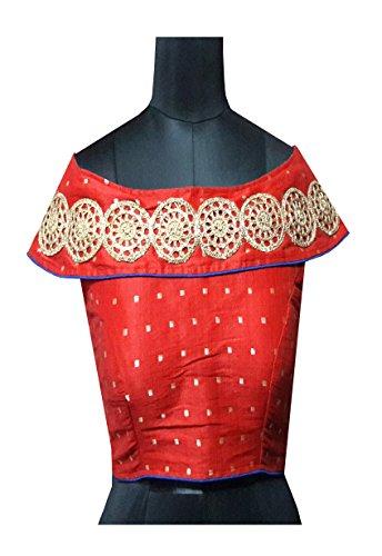 Shreeji Designer Women's Malbari Silk Red Color Off Shoulder Embroidery Work Ready...
