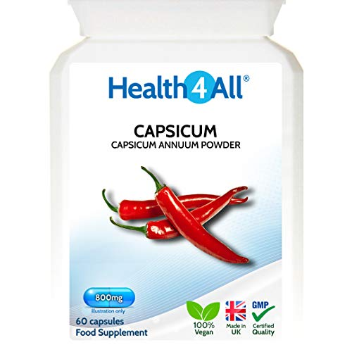 Health4All Capsicum 800mg 60 Capsules (V) High Strength Capsaicin with Anti-inflammatory and Fat Burning Properties. Vegan. Made by Health4All