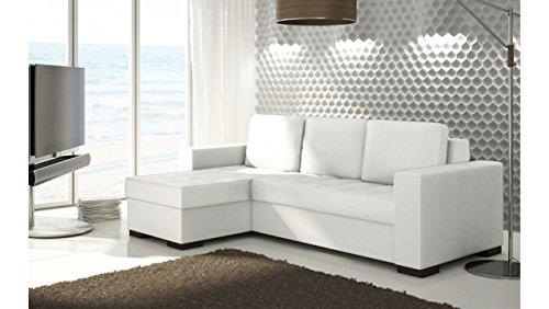 JUSTyou Newark Canapé d'angle Sofa canapé lit Cuir écologique (HxLxl): 90x237x150 cm Blanc Angle gauche