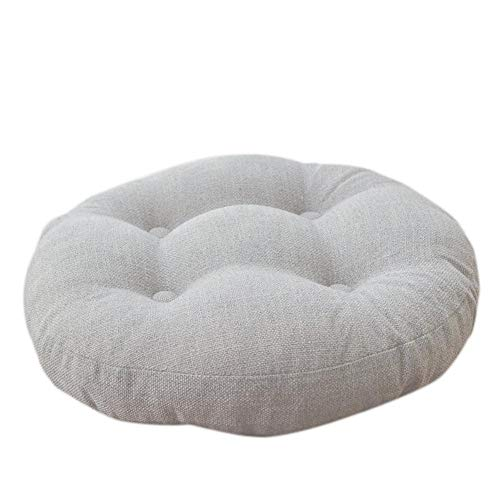 Pastoralen Stil Imitiert Leinen Rundes Kissen Verdickt Futon Tatami Kissen Bodenmatte 40x40 cm,Geeignet für Zu Hause und Im Büro(Beige) -