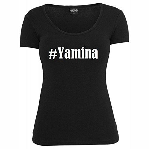 T-Shirt #Yamina Hashtag Raute für Damen Herren und Kinder ... in den Farben Schwarz und Weiss Schwarz