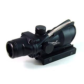 Taktisches Zielfernrohr, Typ: ACOG, 4x32, funktionale Glasfaser-Optik, roter Punkt zum Anvisieren, passend auf 20-mm-Schiene
