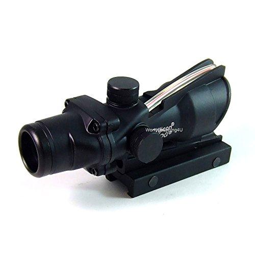 Taktisches Zielfernrohr, Typ: ACOG, 4x32, funktionale Glasfaser-Optik, roter Punkt zum Anvisieren, passend auf 20-mm-Schiene (Acog Visier)