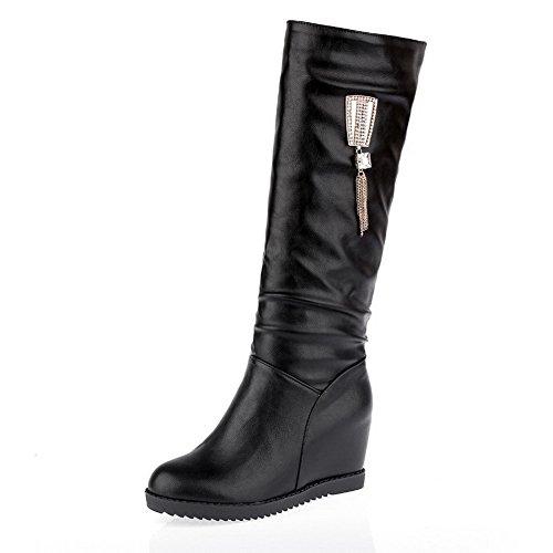 VogueZone009 Damen Reißverschluss Weiches Material Quadratisch Zehe Stiefel, Schwarz, 42