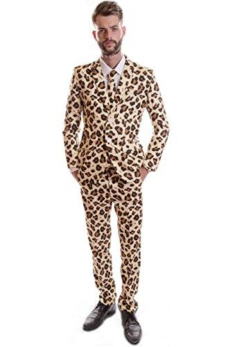 Cheetah Tiermuster Design Hirsch-Anzug Gr. Medium, Gelb - (Gelben Anzug Herren Opposuits)