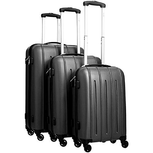 Pure Valigetta Colorful/Valigia Set/Bagaglio di Viaggio/Custodia Rigida/Bagaglio a Mano/Set di Valigie/Trolley/ABS/4Rotoli/Serratura a Combinazione, Nero, XXL
