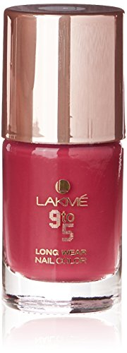 Lakme 9 to 5 Long Wear Nail Color, Berry Business, 9 ml