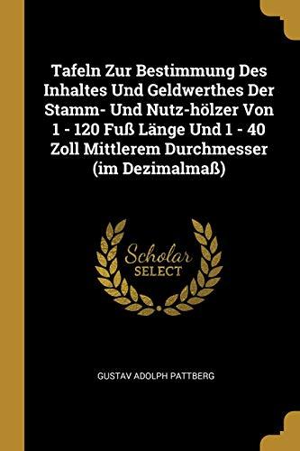 Tafeln Zur Bestimmung Des Inhaltes Und Geldwerthes Der Stamm- Und Nutz-hölzer Von 1 - 120 Fuß Länge Und 1 - 40 Zoll Mittlerem Durchmesser (im Dezimalmaß)