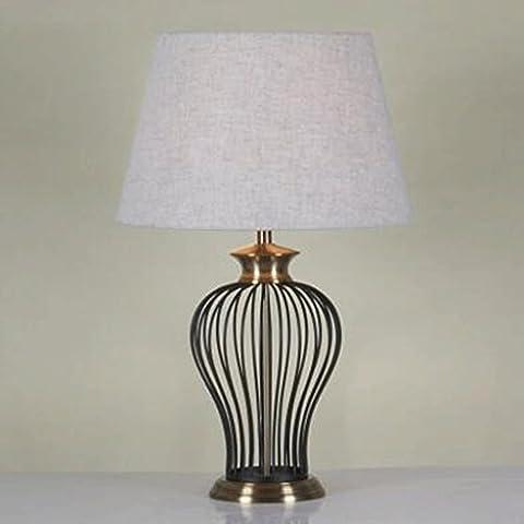 JHBJlámparas hardware de hierro ingeniería salón Lámpara de mesa chino estilo europeo y americano retro jaulas de pájaros habitación creativa lámpara de cabecera lámpara de escritorio ( Edición : 6 )